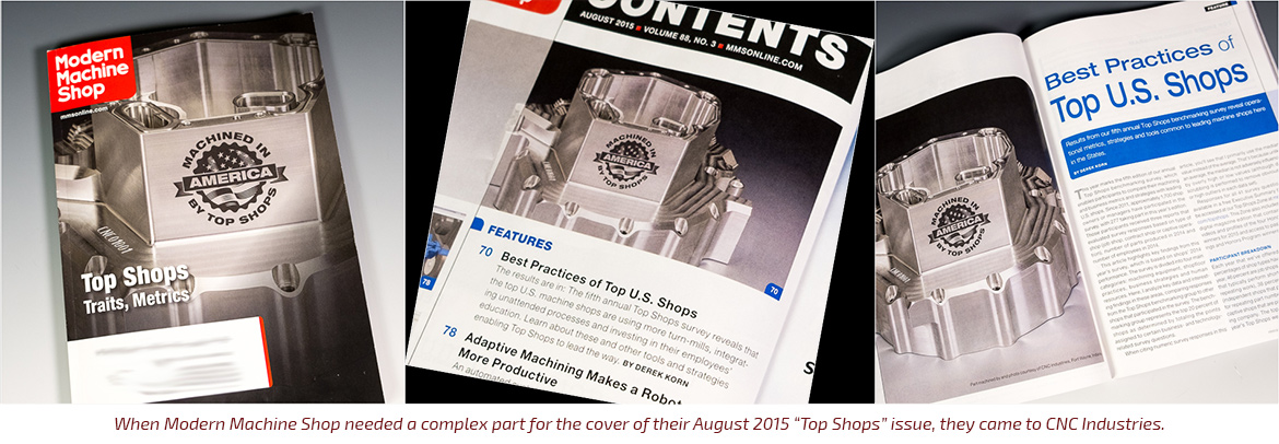 CNC Industries part is featured on cover of Modern Machine Shop magazine