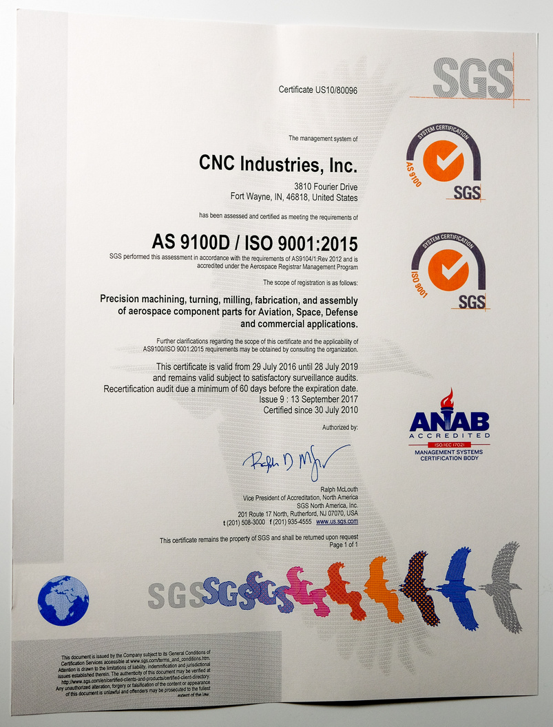 CNC Industries AS-9100D certification