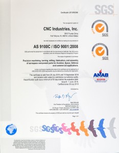 CNC Industries AS 9100C ISO 9001:2008 certification